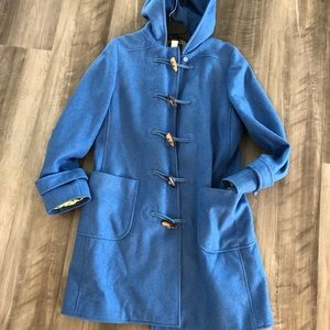 J. Crew Blue Wool Hooded Coat Peacoat S